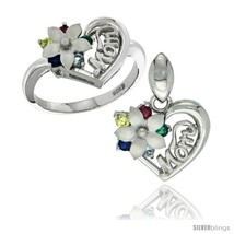 Size 6 - Sterling Silver Heart Mom Ring & Pendant Set with Flower & Colo... - $72.08