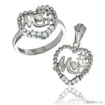 Size 6 - Sterling Silver No. 1 MOM Heart Ring & Pendant Set CZ Stones Rh... - $70.76