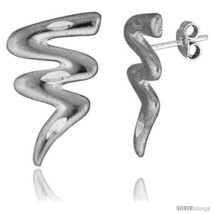 Tiny Sterling Silver Wiggle Stud Earrings 7/8  - $20.12