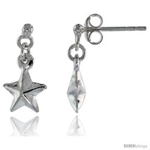 Tiny Sterling Silver Dangle Star Earrings, 5/8  - $17.74