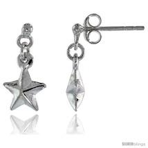 Tiny Sterling Silver Dangle Star Earrings, 5/8  - $17.74
