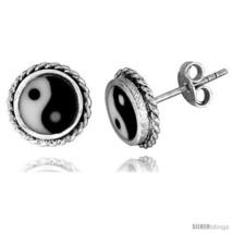 Sterling Silver Yin and yang Stud Earrings 3/8  - $20.12