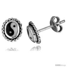 Sterling Silver Yin-Yang Stud Earrings, 5/16 X 1/4 in(7.4 mm X 6  - $12.51