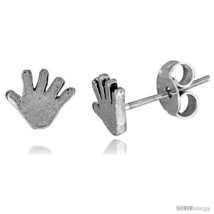 Tiny Sterling Silver Hand Stud Earrings 1/4  - $11.07