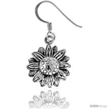 Tiny Sterling Silver Sunflower Dangle Earrings 9/16  - $30.15