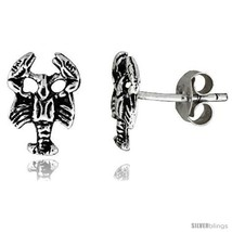 Tiny Sterling Silver Scorpion Stud Earrings 3/8  - $15.07