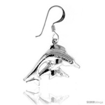 Tiny Sterling Silver Dolphin Dangle Earrings 15/16  - $38.18