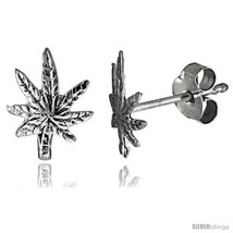 Tiny Sterling Silver Leaf Stud Earrings 3/8 in -Style  - $12.51