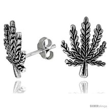 Tiny Sterling Silver Leaf Stud Earrings 9/16  - $20.12