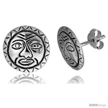 Tiny Sterling Silver Sun Stud Earrings 7/16  - $20.12