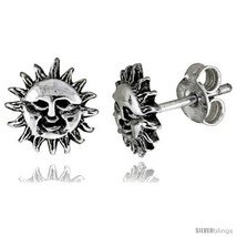 Tiny Sterling Silver Sun Stud Earrings 5/16  - $12.51