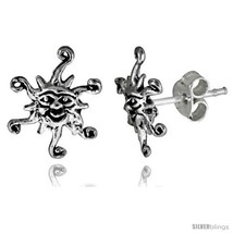 Tiny Sterling Silver Sun Stud Earrings 7/16 in -Style  - $20.12