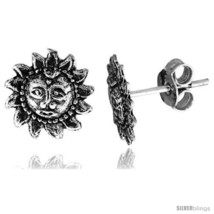 Tiny Sterling Silver Sun Stud Earrings 3/8  - $15.07
