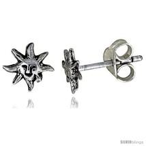 Tiny Sterling Silver Sun Stud Earrings 1/4  - $15.07