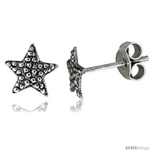 Tiny Sterling Silver Star Stud Earrings 5/16 in -Style  - $12.51