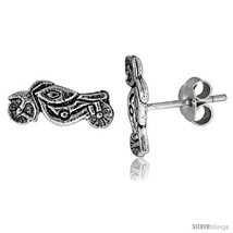 Tiny Sterling Silver MOTORCYCLE Stud Earrings 7/16  - $15.07