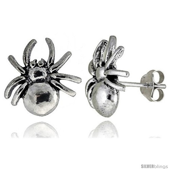 Tiny sterling silver spider stud earrings 1 2 in style es8