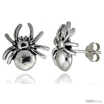 Tiny Sterling Silver Spider Stud Earrings 1/2 in -Style  - $30.15