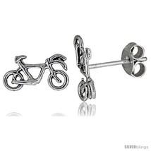 Tiny Sterling Silver Bicycle Stud Earrings 3/8  - $15.07
