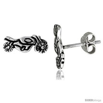 Tiny Sterling Silver MOTORCYCLE Stud Earrings 7/16 in -Style  - $15.07