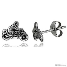 Tiny Sterling Silver MOTORCYCLE Stud Earrings 5/16 in -Style  - $12.51