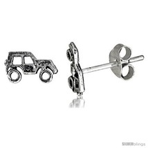 Tiny Sterling Silver SUV Stud Earrings 5/16  - $12.51