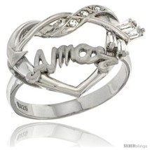 Size 7 - Sterling Silver AMOR w/ Cupid's Bow Ri... - $37.02