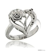 Size 6 - Sterling Silver LOVE Rose Heart Ring CZ stones Rhodium Finished... - £38.98 GBP