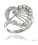 Size 7 - Sterling Silver LOVE Heart Ring CZ stones Rhodium Finished, 23/... - £37.22 GBP