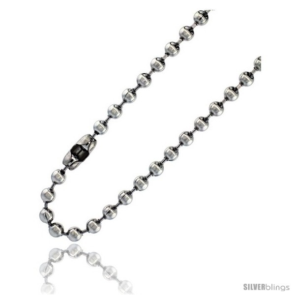 Length 26 - Stainless Steel Bead Ball Chain 5 mm thick available Necklaces