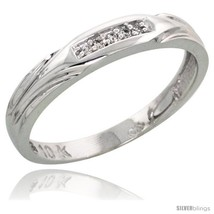 Size 9 - 10k White Gold Ladies Diamond Wedding Band Ring 0.03 cttw Brill... - $124.71