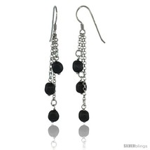 Sterling Silver Black Swarovski Pearl Drop Earrings, 2 9/16 in. (65 mm)  - $40.74