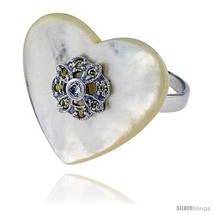 Size 9 - Heart-shaped Mother of Pearl Ring in Solid Sterling Silver, Acc... - $37.32