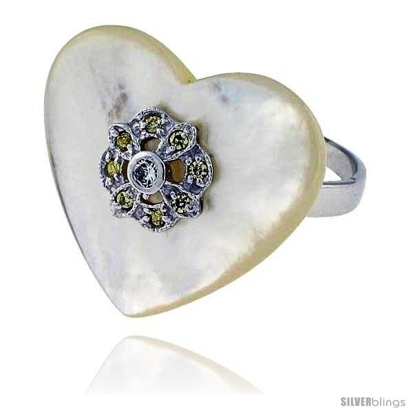 Primary image for Size 8 - Heart-shaped Mother of Pearl Ring in Solid Sterling Silver, Accented