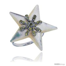Size 9 - Star Mother of Pearl Ring in Solid Sterling Silver, Accented wi... - $35.94