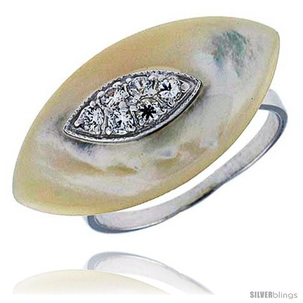 Size 10 - Marquise-shaped Mother of Pearl Ring in Solid Sterling Silver,