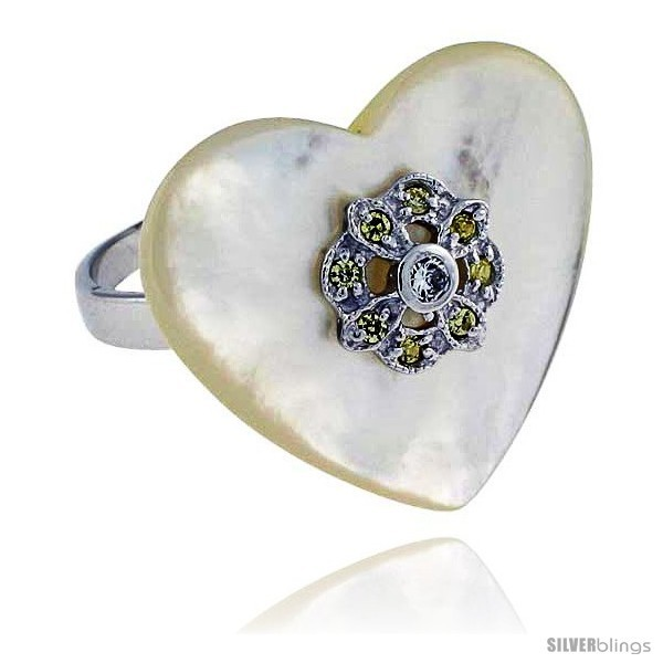 Size 9 - Heart-shaped Mother of Pearl Ring in Solid Sterling Silver, Accented