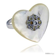 Size 7 - Heart-shaped Mother of Pearl Ring in Solid Sterling Silver, Accented  image 2