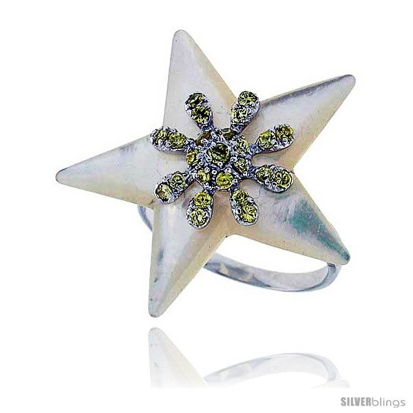 Size 9 - Star Mother of Pearl Ring in Solid Sterling Silver, Accented with Tiny