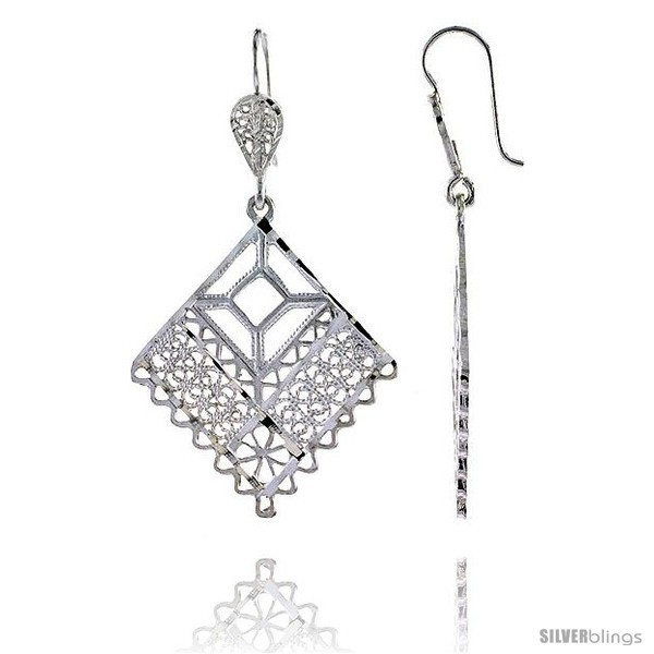 Primary image for Sterling Silver 1 15/16in  (49 mm) tall Diamond-shaped Filigree Dangle