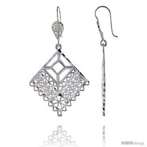 Sterling Silver 1 15/16in  (49 mm) tall Diamond-shaped Filigree Dangle  - $43.88