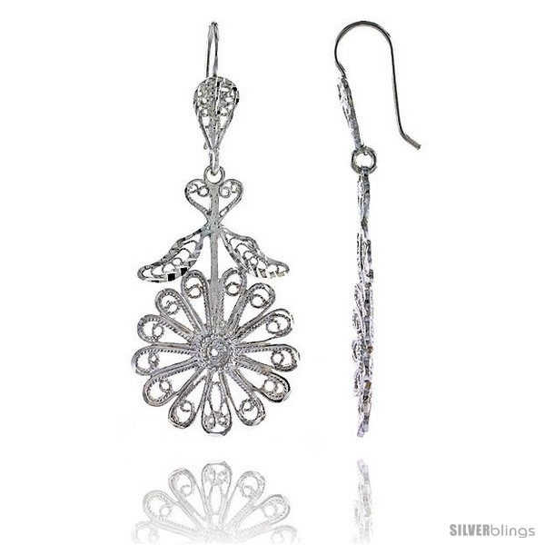 Primary image for Sterling Silver 2in  (50 mm) tall Flower Filigree Dangle