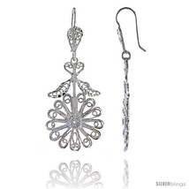 Sterling Silver 2in  (50 mm) tall Flower Filigree Dangle  - $42.26