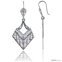 Sterling Silver 1 13/16in  (46 mm) tall Diamond-shaped Filigree Dangle  - $35.74