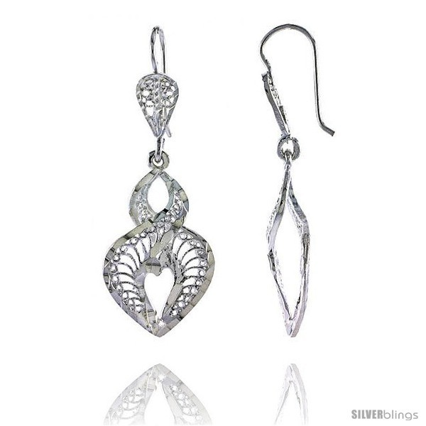 Primary image for Sterling Silver 1 9/16in  (40 mm) tall Heart-shaped Filigree Dangle