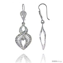 Sterling Silver 1 9/16in  (40 mm) tall Heart-shaped Filigree Dangle  - $30.86