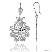 Sterling Silver 1 7/8in  (47 mm) tall Flower Filigree Dangle  - $52.03