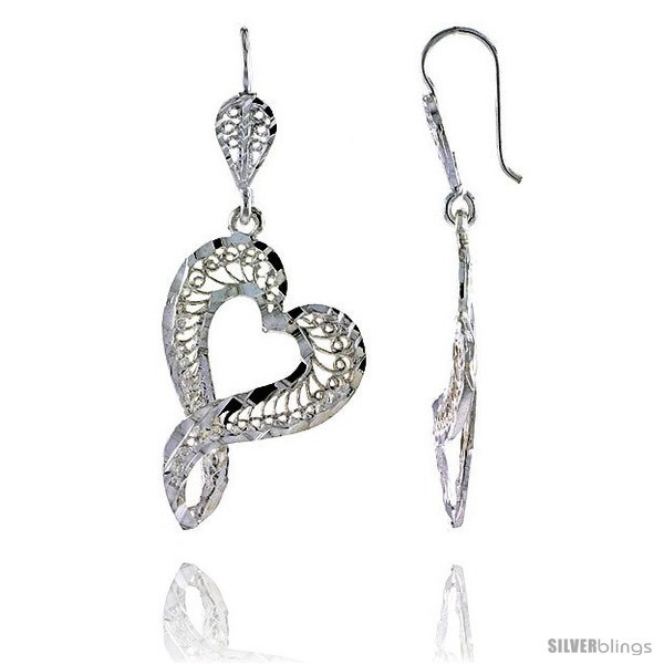 Primary image for Sterling Silver 1 13/16in  (46 mm) tall Heart-shaped Filigree Dangle