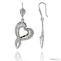 Sterling Silver 1 13/16in  (46 mm) tall Heart-shaped Filigree Dangle  - $39.00