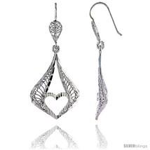 Sterling Silver 1 13/16in  (47 mm) tall Pear-shaped Filigree Dangle Earrings, w/ - $35.74